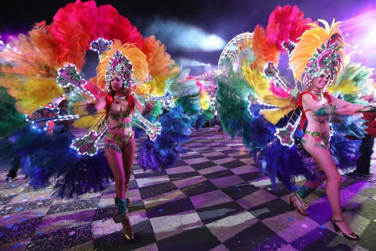 Dancers perform during the 133rd edition of the Nice Carnival in Nice, southeastern France, on February 21, 2017. (VALERY HACHE/AFP/Getty Images)
