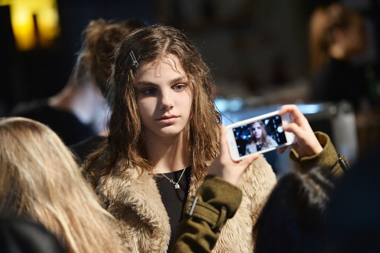 A model backstage ahead of the Marques'Almeida show during the London Fashion Week February 2017 collections on February 21, 2017 in London, England. (Photo by Jeff Spicer/Getty Images)