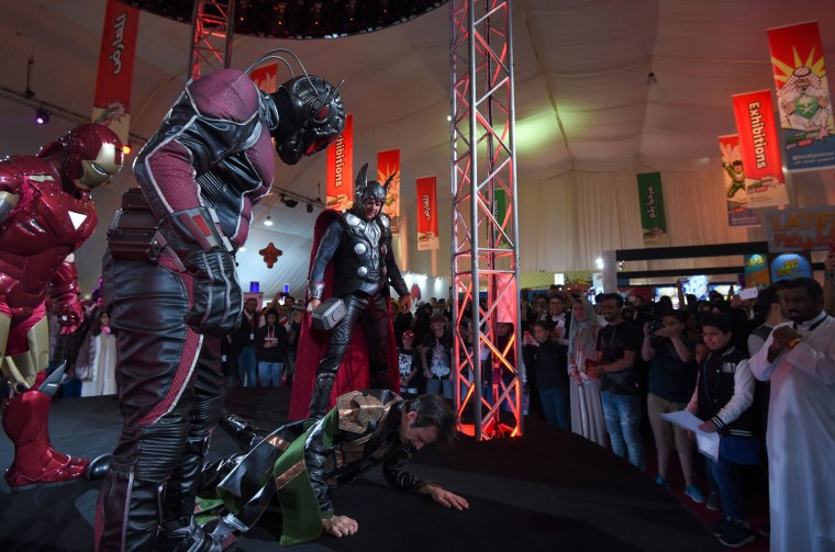 People dressed up as members of Marvel's Avengers perform on stage during Saudi Arabia's first ever Comic-Con event in the coastal city of Jeddah on February 16, 2017. The three-day festival of anime, pop art, video gaming and film-related events is part of a government initiative to bring more entertainment to Saudi Arabia which bans alcohol, public cinemas and theatre. (Fayez Nureldine/AFP/Getty Images)
