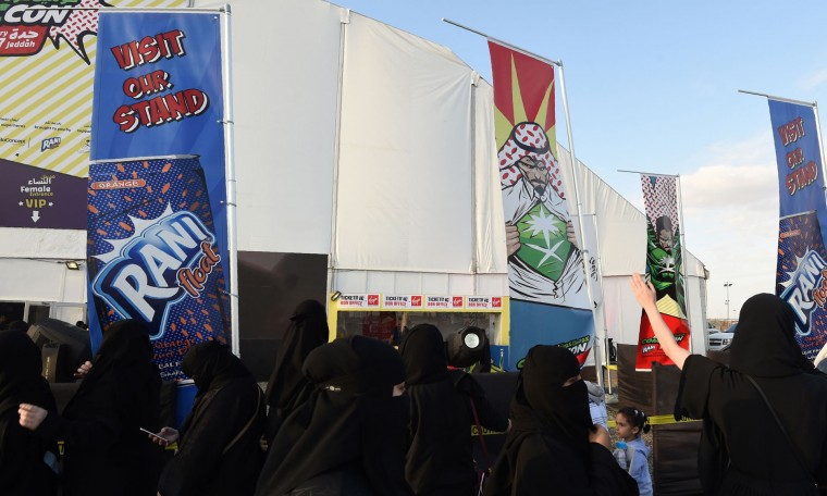 Saudi women queue up outside the venue hosting the country's first ever Comic-Con event in the coastal city of Jeddah on February 16, 2017. The three-day festival of anime, pop art, video gaming and film-related events is part of a government initiative to bring more entertainment to Saudi Arabia which bans alcohol, public cinemas and theatre. (Fayez Nureldine/AFP/Getty Images)