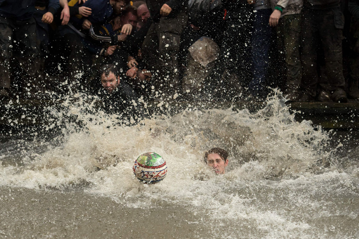 The annual Shrovetide football match in Ashbourne, northern England