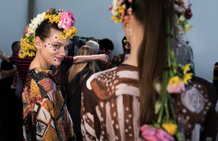 Models backstage ahead of the Tata Naka show during the London Fashion Week February 2017 collections at the ICA on February 21, 2017 in London, England. (Photo by Tim P. Whitby/Getty Images)