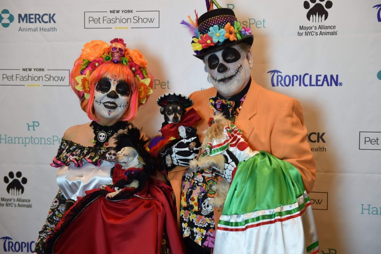 Danny and Amy Cox, representing Mexico and contestants in the World Fashion Presents segment pose during the 14th Annual New York Pet Fashion Show presented by TropiClean at the Hotel Pennsylvania February 9, 2017. (TIMOTHY A. CLARY/AFP/Getty Images)