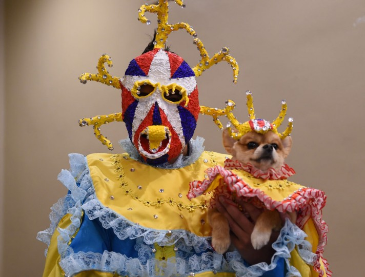 Representing Puerto Rico, a contestant in the World Fashion Presents segment poses during the 14th Annual New York Pet Fashion Show presented by TropiClean at the Hotel Pennsylvania February 9, 2017. (TIMOTHY A. CLARY/AFP/Getty Images)