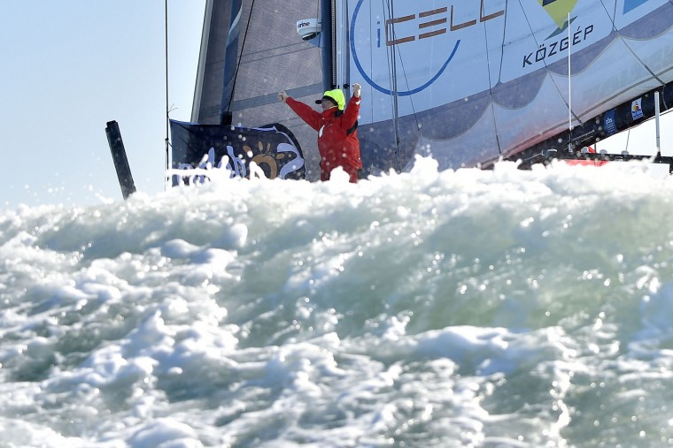 Hungarian skipper Nandor Fa celebrates as he arrives on sight of Les Sables-d'Olonne, western France, on February 8, 2017, to place 8th in the Vendee Globe solo around-the-world sailing race. (Loic Venance/AFP/Getty Images)