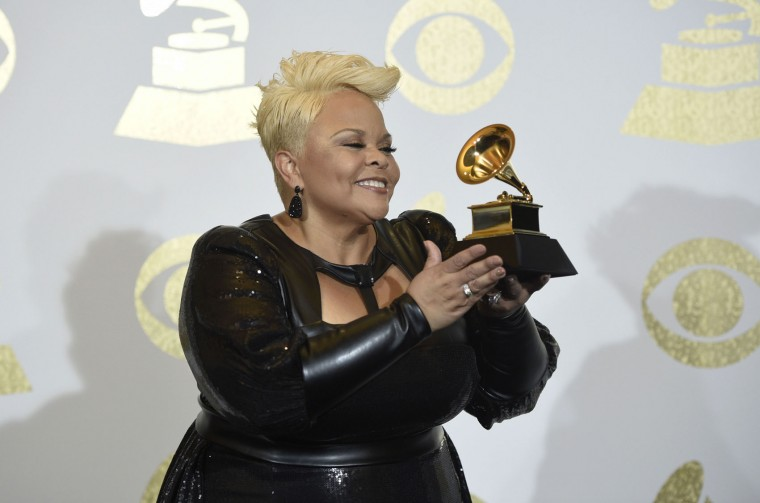 "Tamela Mann poses in the press room with the award for best gospel performance/song for ""God Provides"" at the 59th annual Grammy Awards at the Staples Center on Sunday, Feb. 12, 2017, in Los Angeles. (Photo by Chris Pizzello/Invision/AP)"