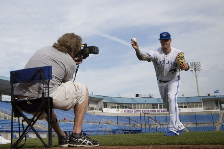 Toronto Blue Jays' Mat Latos poses for a photograph on the team's photo day on Tuesday, Feb. 21, 2017, in Dunedin, Fla. (Matt Rourke/AP)