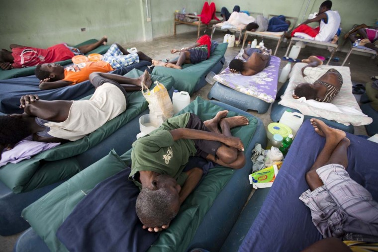 In this Feb. 13, 2017 photo, sick prisoners rest in the infirmary at the National Penitentiary in downtown Port-au-Prince, Haiti. Haitian prosecutors and rights activists are sounding an alarm about collapsing conditions at the impoverished country's prisons as malnutrition from acute food shortages and a slew of preventable illnesses are leading to an upsurge of inmate deaths. (AP Photo/Dieu Nalio Chery)