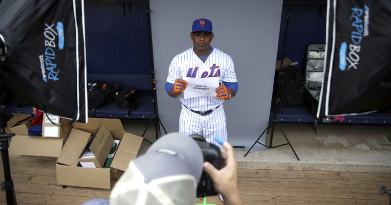 Pro baseball players step up to the camera for spring training photo days