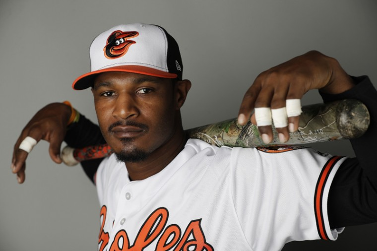 Baltimore Orioles' Adam Jones poses during the team's photo day at spring training baseball in Sarasota, Fla., Monday, Feb. 20, 2017. (David Goldman/AP)