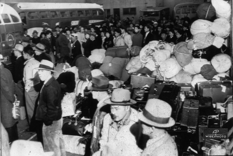 Los Angeles, March 21 - Exodus of Japanese Begins - Beginning the nation's greatest forced migration, these Japanese today boarded buses which transported then to Owens Valley, 235 miles north of here, where the government's first reception center is under construction. The nearly 100 Japanese who left today were skilled workers who will help prepare the camp for thousands of others to arrive later.
