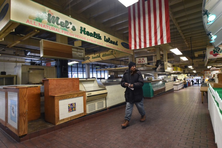 Lexington's West Market, between Paca and Greene Streets,  is 50 percent empty. Many vendors gave up their stalls after Social Security West shut down, taking away their steady lunchtime customers. (Amy Davis/Baltimore Sun)