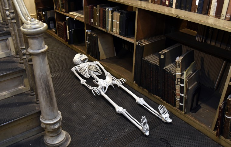 A skeleton decoration from a Halloween event is waiting to be put away at the George Peabody Library.  (Barbara Haddock Taylor/Baltimore Sun)