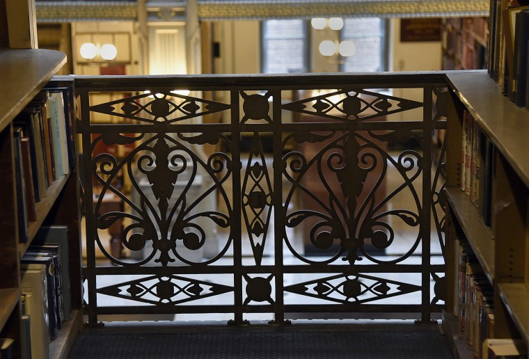 This is a railing on an upper floor at the George Peabody Library.  (Barbara Haddock Taylor/Baltimore Sun)