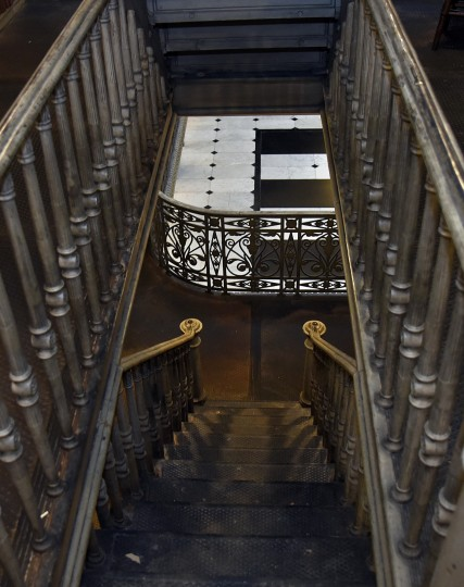 A staircase at the George Peabody Library leads to a lower stack.  (Barbara Haddock Taylor/Baltimore Sun)