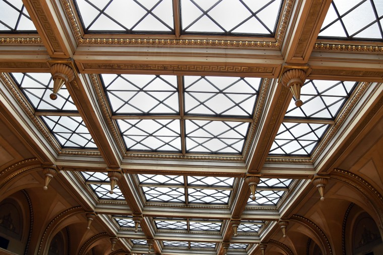 This is part of the skylight, which is undergoing renovation at the Peabody Library.  (Barbara Haddock Taylor/Baltimore Sun)