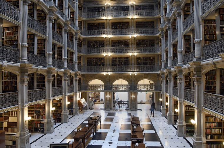 The stack room in the George Peabody Library is 61-feet high and features five tiers of cast-iron balconies. (Barbara Haddock Taylor/Baltimore Sun)