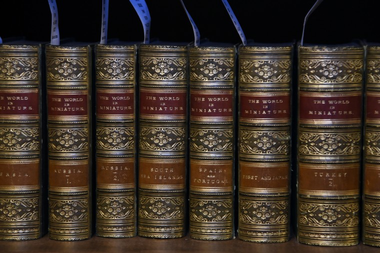 "This is part of an 1827 set of ""The World In Miniature"" books in the Rare Books Room at the Peabody Library.  (Barbara Haddock Taylor/Baltimore Sun)"