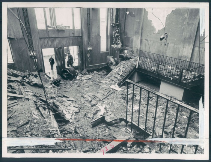 The aftermath of the fire that destroyed Center Stage's North Avenue location. Photo dated January 11, 1974. (Baltimore Sun)
