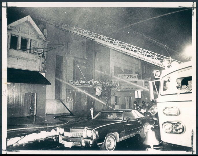 A fire destroyed Center Stage's North Avenue location on January 9, 1974. (Baltimore Sun)