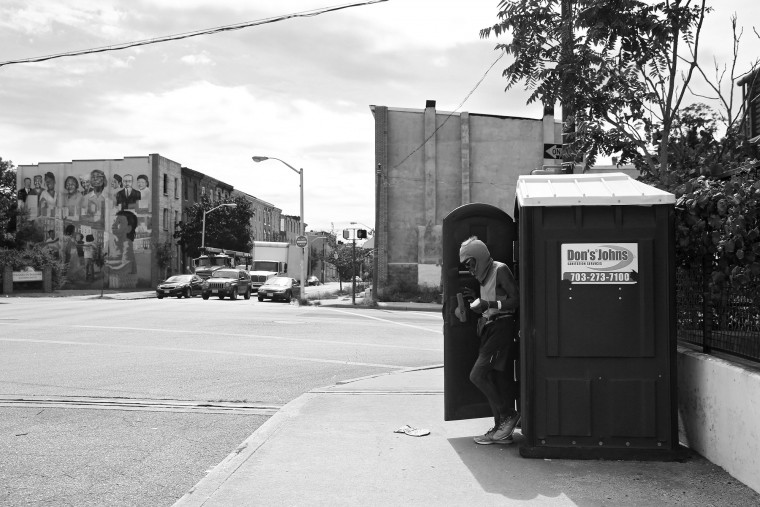 "Keith Boissiere steps out of portable toilet on Fulton Avenue on September 15, 2016. Frequent urination is only one of the many side effects he suffers from after being diagnosed with Stage 4 of Chronic Kidney Disease. Through all of his health troubles, the 'Running Man' copes the only way he knows how - he continues to run - as the hospital encouraged him to do in order to aid his failing health. ""I was always the type that liked to be improving and I figured if I stopped that I would rust,"" Boissiere said. Keith Boissiere has been running nearly every day for the past three decades - averaging more than 20 miles per day - for his health. (Patrick Smith/Getty Images)"