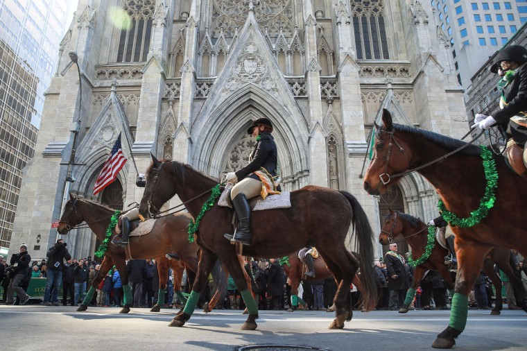 Members of the County Carlow Association ride horses as they march past St. Patrick's Cathedral on 5th Avenue during the annual St. Patrick's Day parade, March 17, 2017 in New York City. The New York City St. Patrick's Day parade, dating back to 1762, is the world's largest St. Patrick's Day celebration. (Photo by Drew Angerer/Getty Images)
