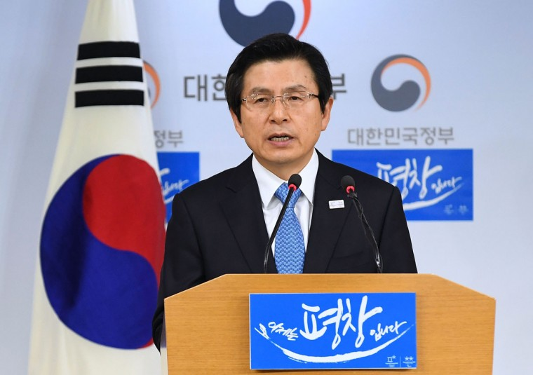 South Korean acting President and Prime Minister Hwang Kyo-ahn speaks to the nation during a press conference at the government complex on March 10, 2017 in Seoul, South Korea. The Constitutional Court of South Korea upheld the impeachment of President Park Geun-hye on March 10, 2017. Park will be permanently removed from the South Korean office and the nation will need to hold a presidential election within 60 days. Park had been impeached by parliament in December for allegedly letting her confidante Choi Soon-sil involved in state affairs and colluded to take bribes of millions of dollars from South Korean conglomerates. (Photo by Kim Min-Hee-Pool/Getty Images)