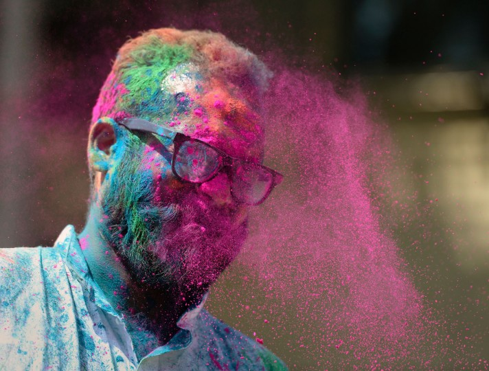An Indian man is gets a face full of coloured powder during the Holi celebrations in Mumbai on March 13, 2017. Holi, the festival of colours, is a riotous celebration of the coming of spring and falls on the day after full moon annually in March. (Punit Paranjpe/AFP/Getty Images)