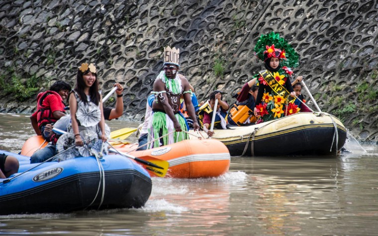 Indonesian activists parade in various costumes along the Kalimas river in Surabaya on March 22, 2017 to help draw attention to World Water Day. Recycling the world's wastewater, almost all of which goes untreated, would ease global water shortages while protecting the environment, the United Nations said in a major report on March 22. (JUNI KRISWANTO/AFP/Getty Images)