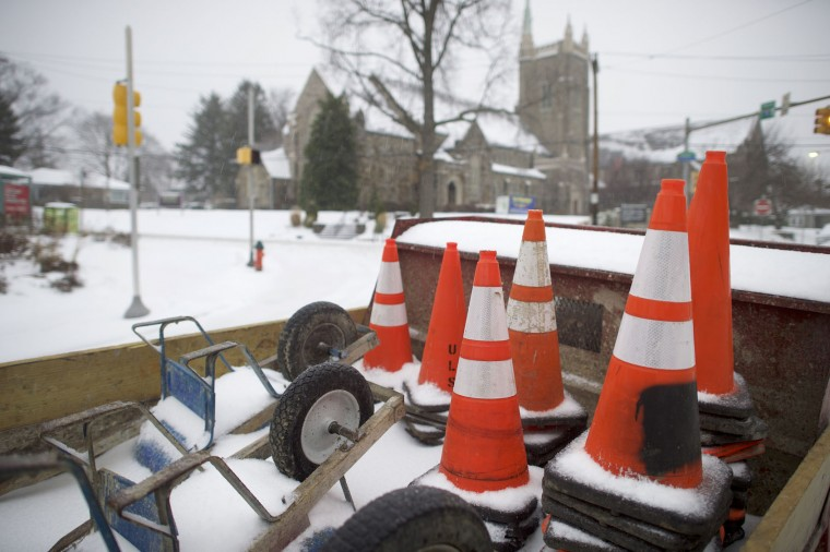 Wheelbarrows and traffic cones are covered in snow in the back of a truck March 14, 2017 in Philadelphia, Pennsylvania. A blizzard is forecast to bring more than a foot of snow and high winds to up to eight states in the Northeast region, as School districts across the entire region were closed and thousands of flights were canceled. (Photo by Mark Makela/Getty Images)