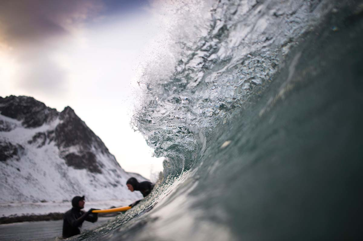 Arctic surfing in Unstad, Norway