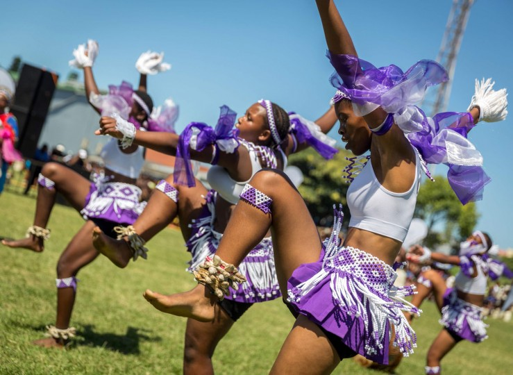 Dancers wearing traditional attires take part in the 7th Annual Ingoma Dance Competition organised by The Natal Playhouse theatre in Durban on March 21, 2017. The Ingoma Dance is considered one of the most purist forms of traditional Zulu dance. (Rajesh Jantilal/AFP/Getty Images)