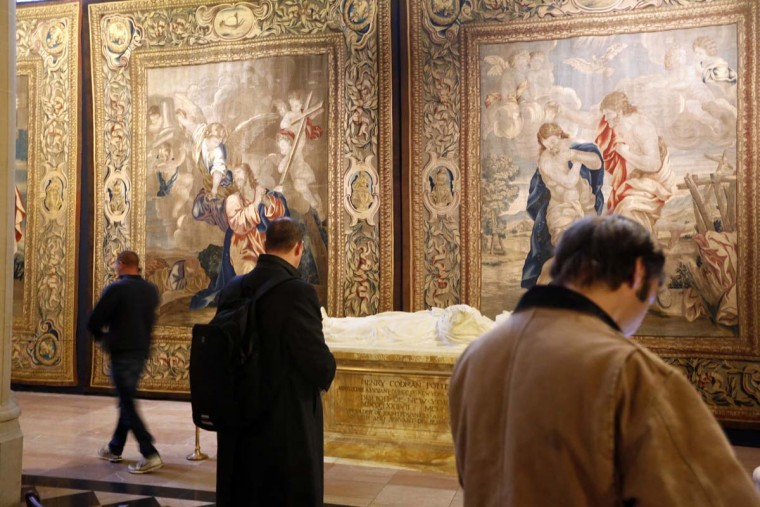 "Recently preserved tapestries are displayed in an exhibit at the Cathedral of St. John the Divine in New York, Wednesday, March 22, 2017. Experts at the cathedral just spent 16 years sprucing up its super-size wall hangings with a labor-intensive process that uses dental probes, tweezers and other tools. Now the historic house of worship is inviting the public to enjoy the fruits of its labors. An exhibit called ""The Barberini Tapestries, Scenes from the Life of Christ"" runs through June 25. (AP Photo/Seth Wenig)"