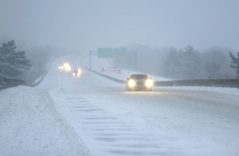 Traffic is light on I-95 near Secacus, N.J., Tuesday, March 14, 2017. A storm pounded the Northeast with more than a foot of snow in places Tuesday, paralyzing much of the Washington-to-Boston corridor after a remarkably mild February had lulled people into thinking the worst of winter was over. (AP Photo/Seth Wenig)