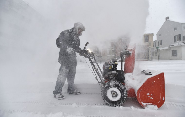Snow whips around as Joe Shields, of Coplay clears a path with a snowblower at the Holiday Inn in downtown Allentown, Pa., on Tuesday, March 14, 2017, as a Nor'easter hit the Lehigh Valley. The heaviest snow in Pennsylvania fell in a swath from the Gettysburg area near the Maryland line in the south, straight north to New York, and northeast to the Pocono Mountains, the Lehigh Valley and the Scranton and Wilkes-Barre region. (April Bartholomew /The Morning Call via AP)