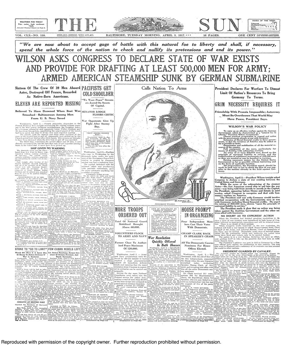 Baltimore Sun front pages during WWI