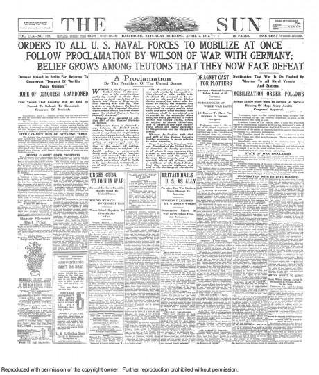 April 7 1917: U.S. Declares War Enters World War 1
