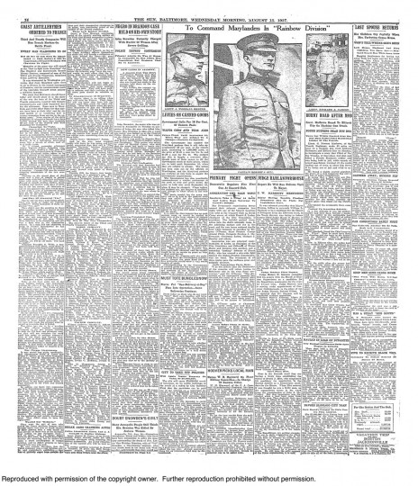 August 15 1917: Marylanders Ordered to france