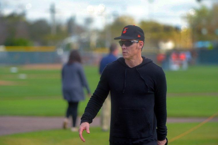 Baltimore Orioles' Brady Anderson during spring training at the Ed Smith Stadium baseball complex. (Karl Merton Ferron / Baltimore Sun)