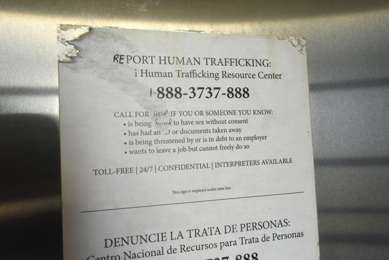 A notice from the National  Human Trafficking Center is posted on the stall doors of the women's room at the Dorchester County Visitors Center. Human trafficking, deemed a modern-day form of slavery, is present in Maryland, where 158 cases were reported in 2016, according the hotline's website. It is a chilling reminder that the evils of bondage that Tubman risked her life to fight against have not been vanquished.  (Amy Davis/Baltimore Sun)
