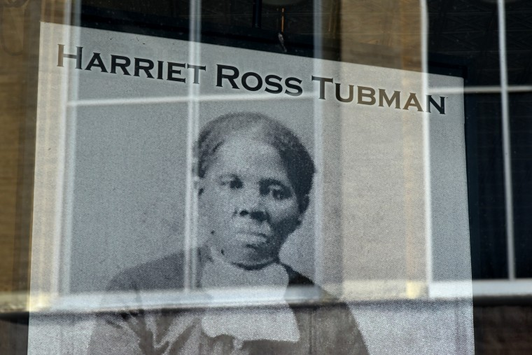 Harriet Tubman gazes out at visitors from  a poster in the front window of the museum dedicated to telling her story of escaping slavery, and risking her life to help others as an underground railroad conductor, Civil War spy and nurse, and suffragist. The Harriet Tubman Museum in downtown Cambridge features memorable photographs of Harriet Tubman over the years. (Amy Davis/Baltimore Sun)
