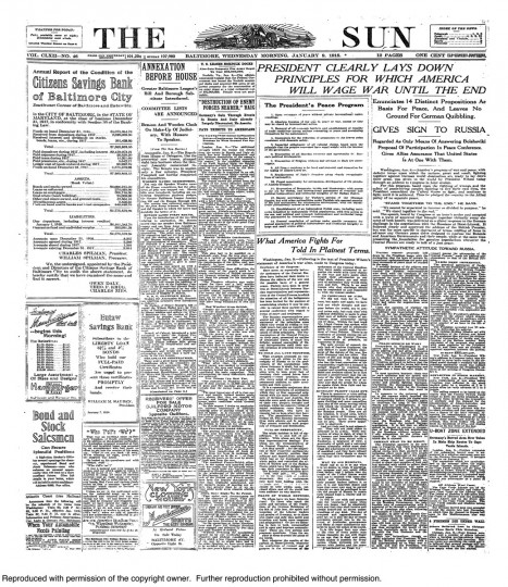January 9 1918: President Woodrow Wilson 14 Points