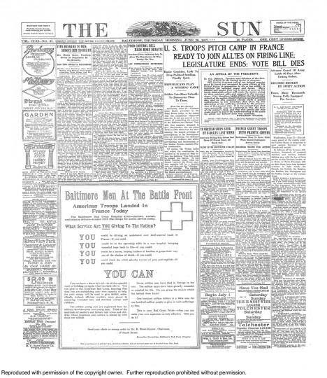 June 28 1917: U S Troops Land in France , Food Control bill more drastic , Abused women ties husband to bed and shoots him