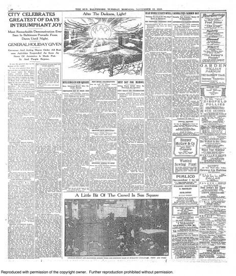 "November 12 1918: ""City celebrates greatest of days in triumphant joy"""