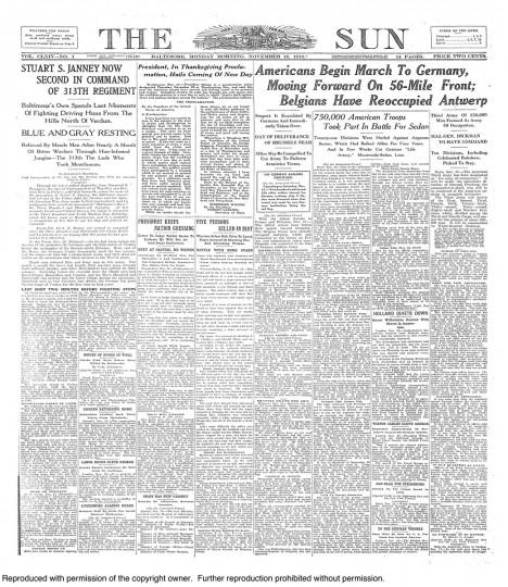 November 18 1918: Marylanders move into Germany