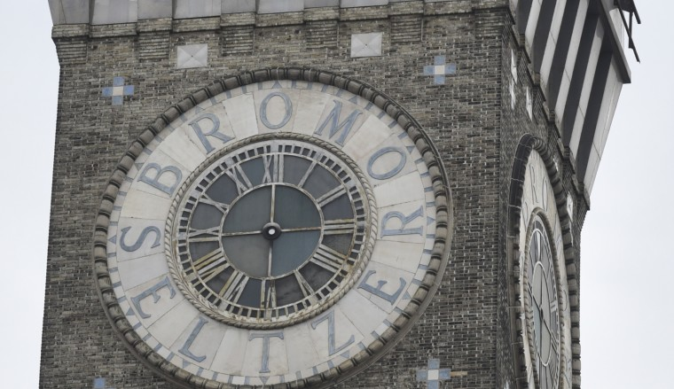 The Bromo Seltzer clock is in the process of being refurbished. The hands will be returned this spring. ( (Barbara Haddock Taylor/Baltimore Sun)