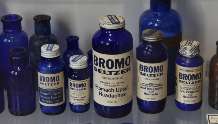 Bromo Seltzer bottles are part of the museum's collection at the Bromo Seltzer Tower, a Baltimore landmark since 1911.  (Barbara Haddock Taylor/Baltimore Sun)