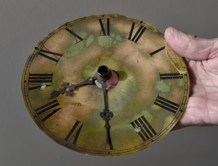 This reference dial was on the original clock mechanism.  Its face showed what time the arms outside on the tower were reading on the Bromo Seltzer Tower. (Barbara Haddock Taylor/Baltimore Sun)