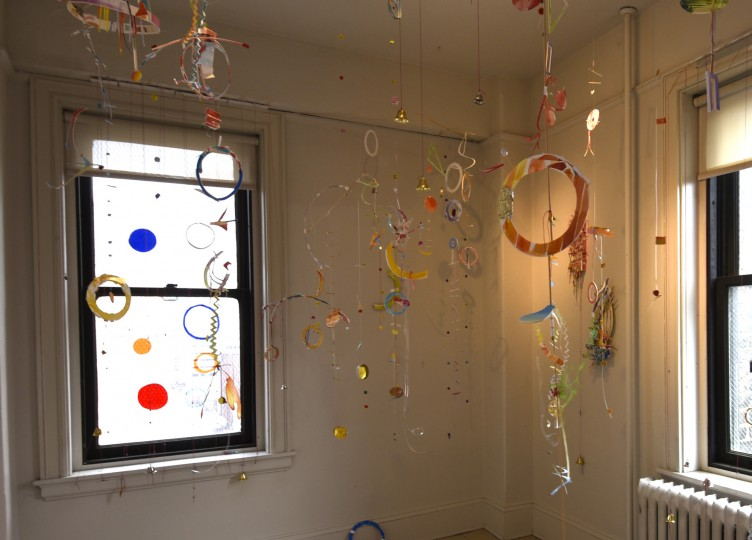 Artist Martha Dougherty installed this watercolor mobile installation in her studio at the Bromo Seltzer Tower, a Baltimore landmark since 1911.  (Barbara Haddock Taylor/Baltimore Sun)