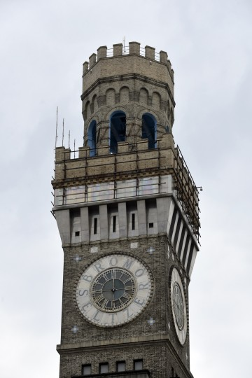 The Bromo Seltzer clock, a Baltimore landmark,  is in the process of being refurbished.  (Barbara Haddock Taylor/Baltimore Sun)